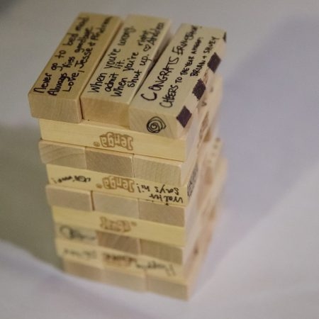 Jenga guest book pieces at a Caribbean destination wedding by Destination wedding planner Mango Muse Events