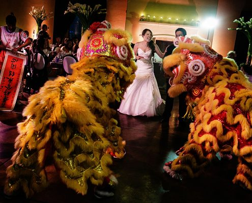Chinese lion dance at a Sonoma destination wedding by Destination wedding planner Mango Muse Events