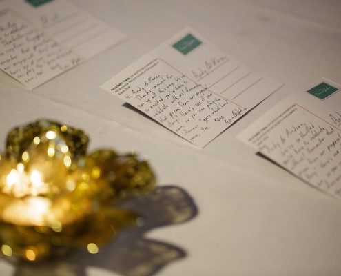 Hand written post cards as escort cards for guests at a Caribbean destination wedding by Destination wedding planner Mango Muse Events