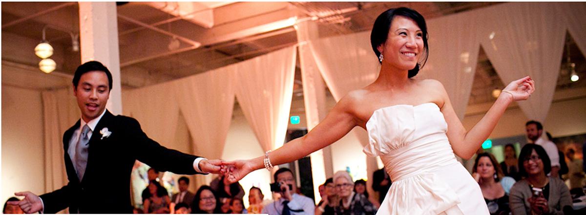 Bride and groom dancing first dance San Francisco wedding Morning wedding just married bride groom Big Island destination wedding by Destination wedding planner Mango Muse Events