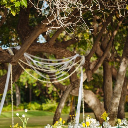 Ribbon and floral frame backdrop for a Hawaii destination wedding by Destination wedding planner Mango Muse Events