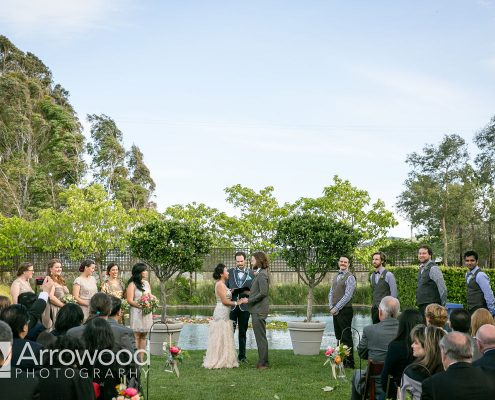 Wedding ceremony at Cornerstone Sonoma by Destination wedding planner Mango Muse Events