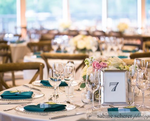 Teal soft pastels wedding tablescape at a Carmel destination wedding by Destination wedding planner Mango Muse Events
