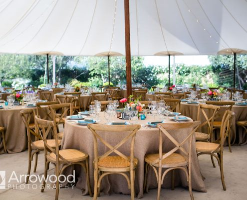 Wedding tent and tables at a Sonoma destination wedding by Destination wedding planner Mango Muse Events