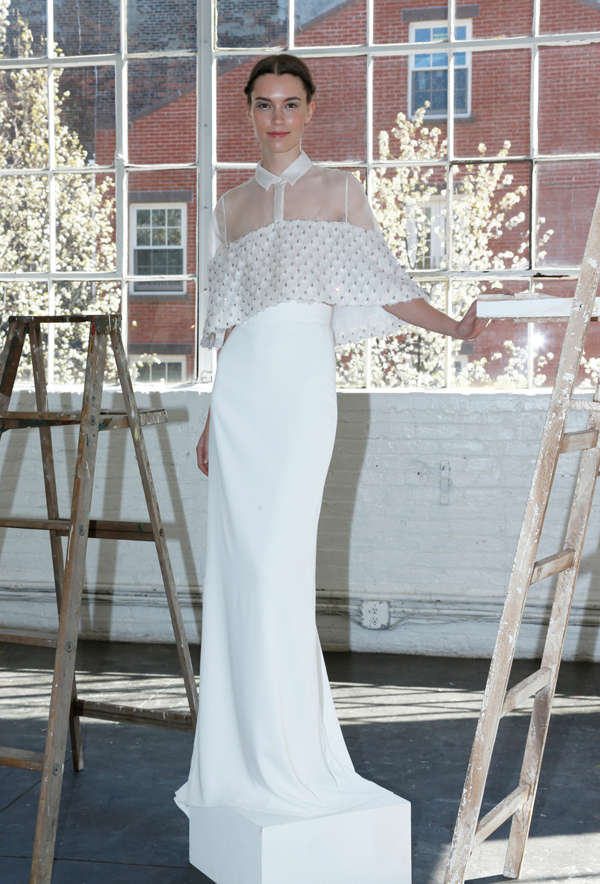 Cropped two piece wedding dress by Lela Rose, a non-traditional wedding dress idea