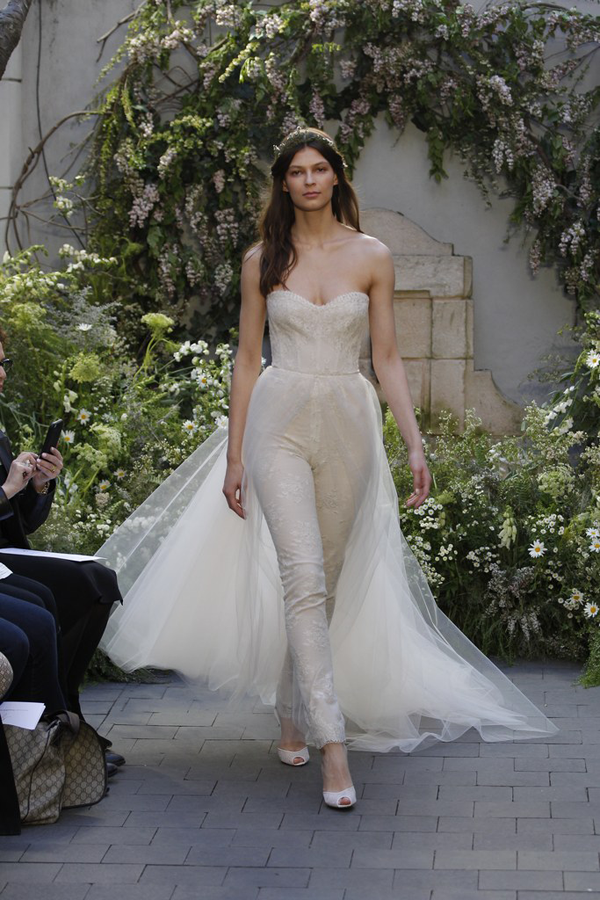 Non traditional wedding dress ideas mango muse events strapless jumpsuit and tulle skirt by monique lhuillier a non traditional wedding dress idea junglespirit