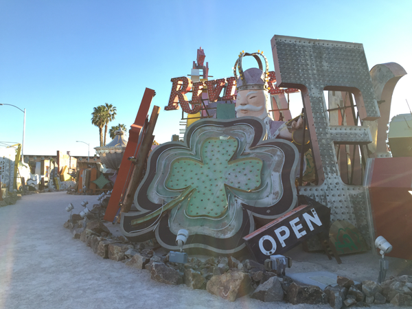 Neon sign boneyard at the Neon Museum, a unique Las Vegas Wedding Venue perfect for a destination wedding