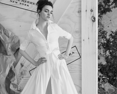 Shirt dress wedding dress by Carolina Herrera bridal, a non-traditional wedding dress idea