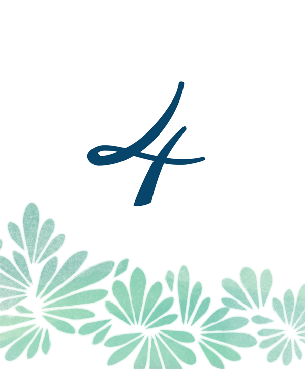 A ocean inspired table number stationery design with a curvy geometric pattern