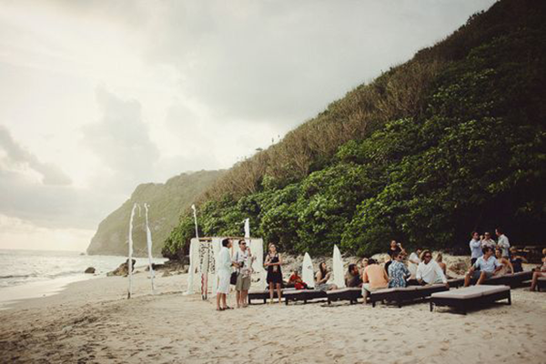 Wedding ceremony at a destination wedding in Bali, a beach destination wedding location
