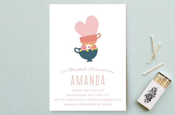 Bridal shower invitation for a tea party