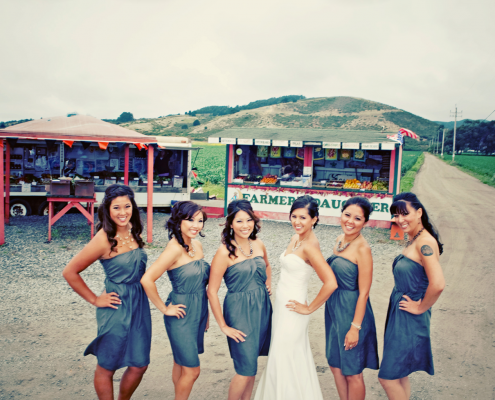 Bridesmaids and bride at a Half Moon Bay wedding by Destination wedding planner, Mango Muse Events