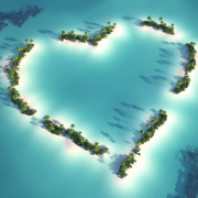 Islands forming a heart in Maldives, a beach destination wedding location