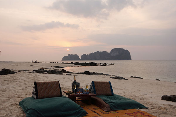 Honeymoon sunset dinner for two on Phi Phi Island in Thailand at Zeavola
