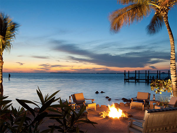 Cozy firepit in Little Palm Island in the Florida Keys a secluded honeymoon location