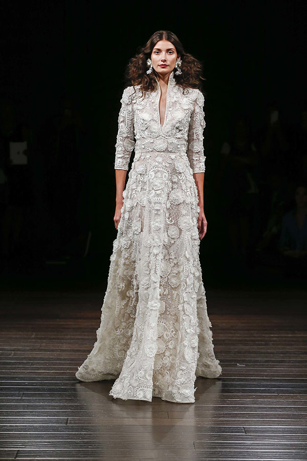 High collar wedding dress from the Naeem Khan bridal fashion week Fall 2017 collection