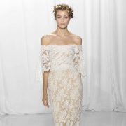 Lace off the shoulder wedding dress from the Reem Acra bridal fashion week Fall 2017 collection