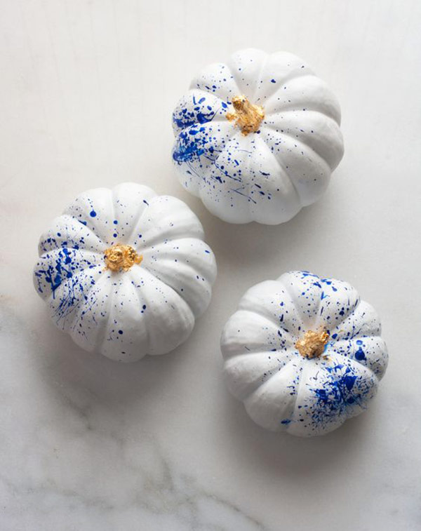 Splatter pumpkins as a part of 12 Halloween decor ideas