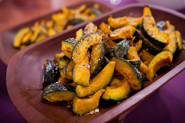 Roasted kabocha squash part of some healthy catering options served at a San Francisco wedding by Destination wedding planner, Mango Muse Evdents