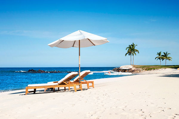 Beautiful sandy beach for two, a perfect honeymoon spot in the Riviera Nayarit St Regis Resort in Punta Mita, Mexico