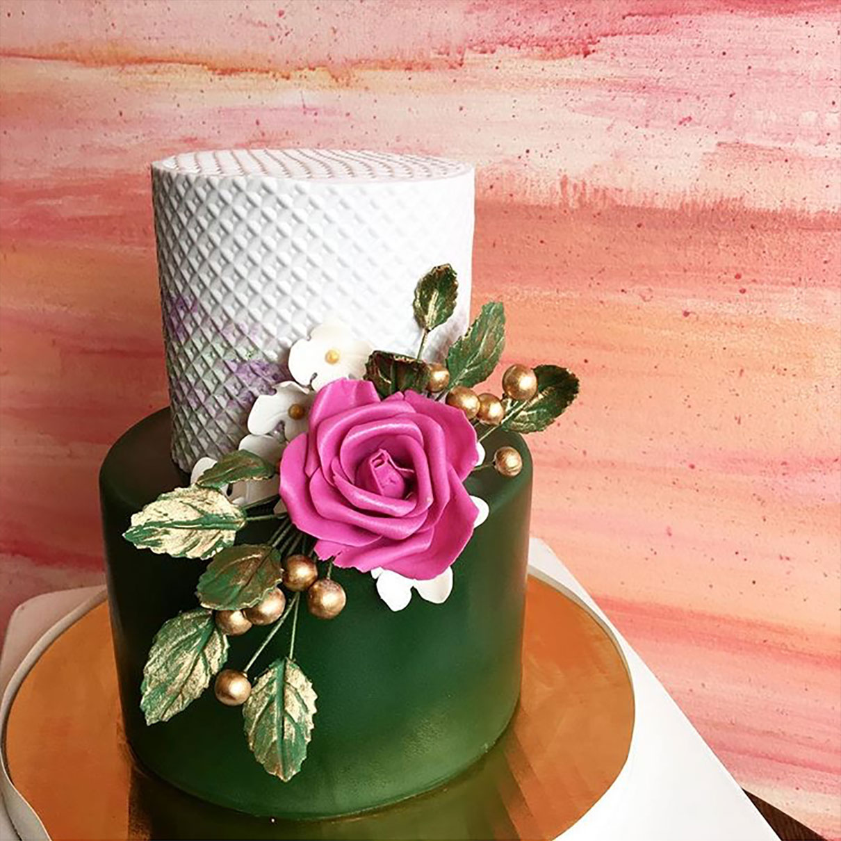 Green Gold White Wedding Cake Feature Mango Muse Events