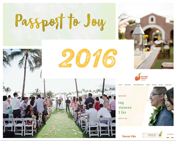 A collage of photos for Destination wedding planner, Mango Muse Events 2016 year in review