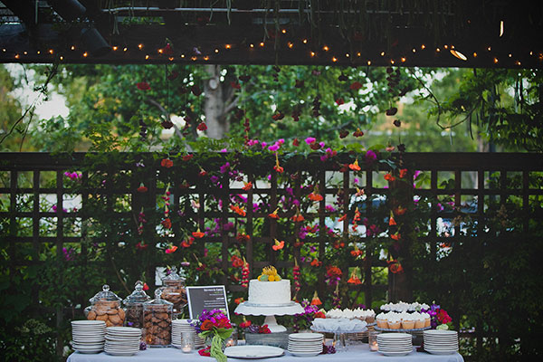 Colorful dessert bar at the Los Altos History museum wedding by Destination wedding planner Mango Muse Events