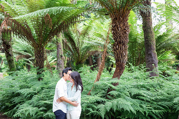 Newly engaged couple enjoying a moment in San Francisco's Golden Gate Park