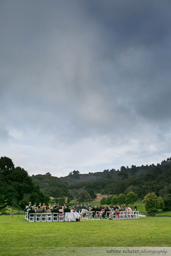 Wedding ceremony at Quail Lodge Meadows planned by destination wedding planner, Mango Muse Events