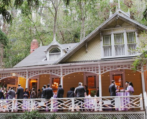 Guest mingling at the Stern Grove wedding venue for this San Francisco destination wedding by Destination wedding planner, Mango Muse Events