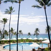 Pool view at Mauna Kea Beach Resort on the Big Island in Hawaii perfect for a honeymoon or destination wedding