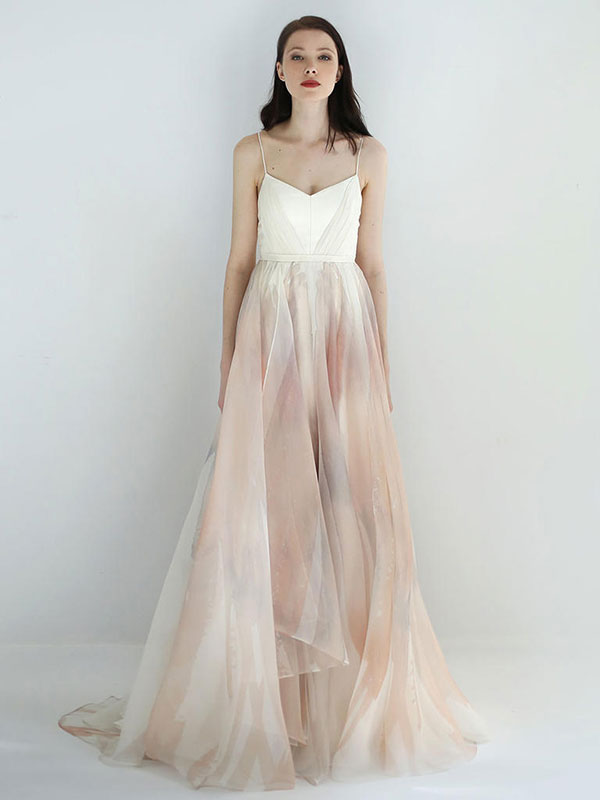 Blush watercolor wedding dress by Leanne Marshall Spring 2018 Bridal