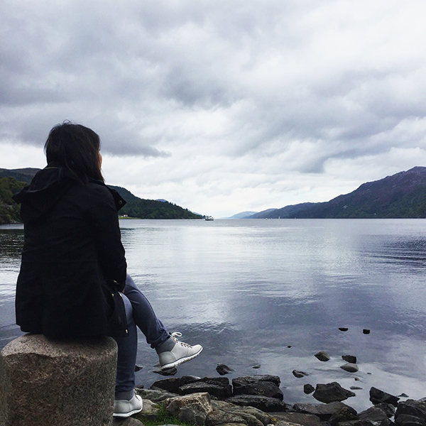 Taking a moment to look out over Loch Ness in Scotland
