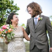 Newlywed couple at a Cornerstone Winery destination wedding in Sonoma, planned by destination wedding planner, Mango Muse Events