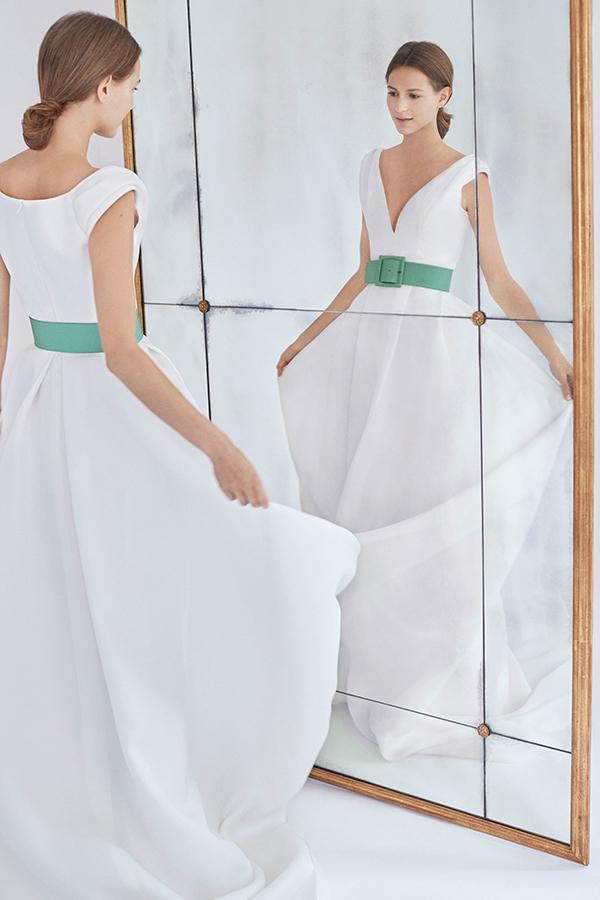 Colored wedding dress by Carolina Herrera Fall 2018 Bridal