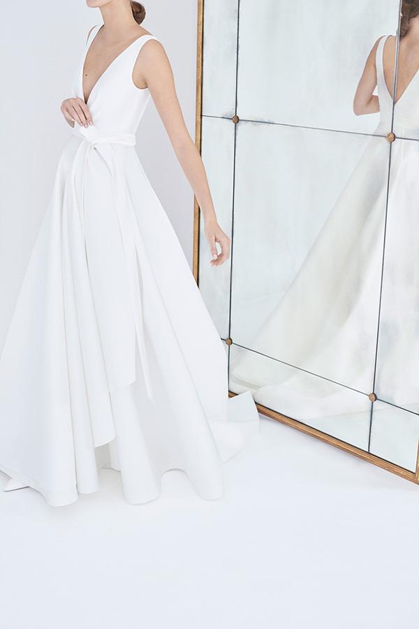 Deep V wedding dress by Carolina Herrera Fall 2018 Bridal