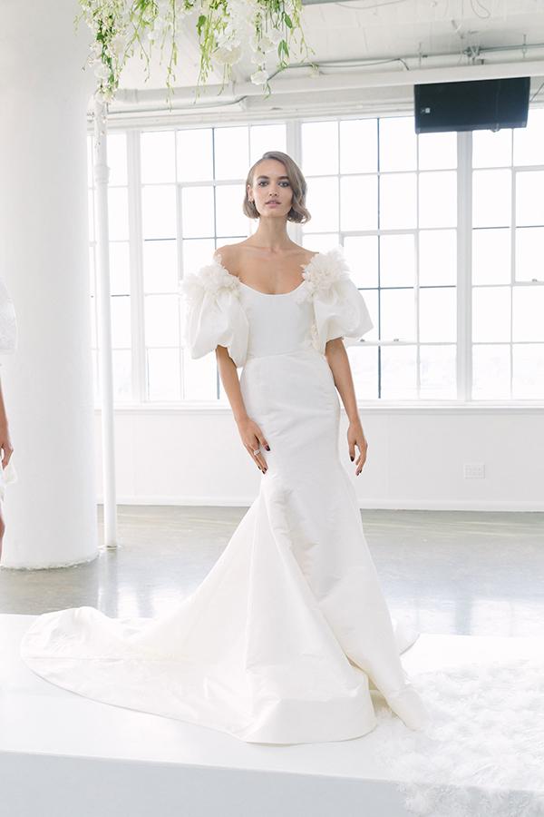 Off the shoulder wedding dress by Marchesa Fall 2018 Bridal