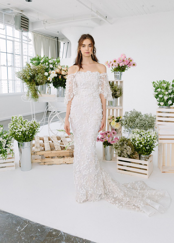 Off the shoulder wedding dress by Marchesa Notte Fall 2018 Bridal