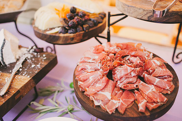 Charcuterie station as a wedding appetizer for a San Francisco destination wedding by Destination wedding planner, Mango Muse Events