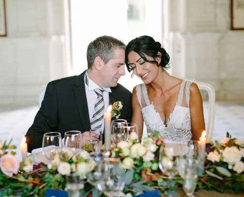 Bride and groom moment at a France chateau wedding by Destination wedding planner Mango Muse Events