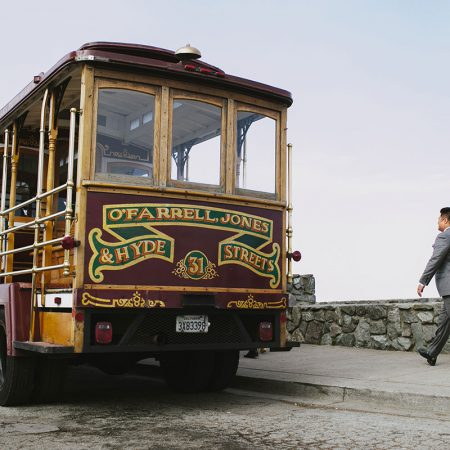 Classic cable car to transport the wedding party at a San Francisco destination wedding by Destination wedding planner Mango Muse Events