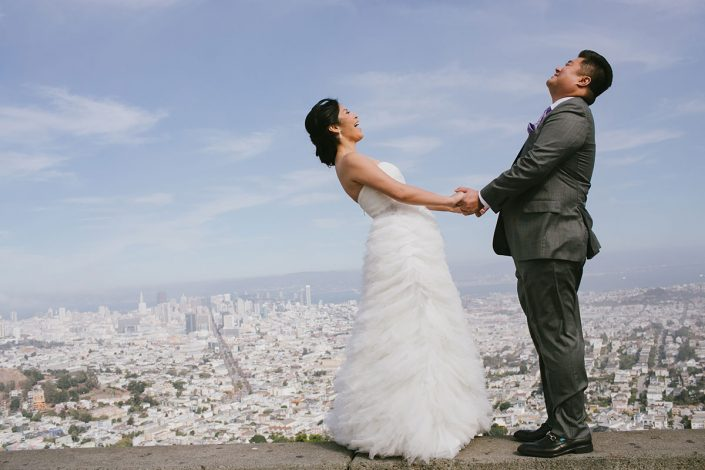 Bride and groom enjoying the San Francisco city view at their San Francisco destination wedding by Destination wedding planner Mango Muse Events