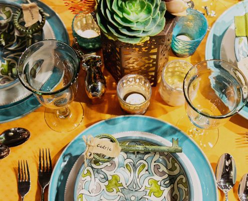 Global bohemian tablescape with Pottery Barn by Destination wedding planner Mango Muse Events
