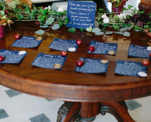 Handwritten placecards and notes for wedding guests at a France chateau wedding by Destination wedding planner Mango Muse Events