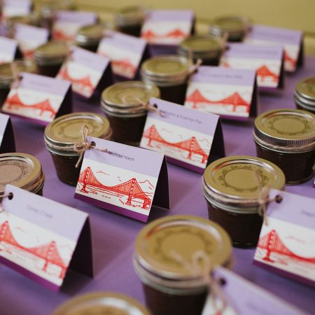 Home made apple butter seating cards and favors at a San Francisco destination wedding by Destination wedding planner Mango Muse Events