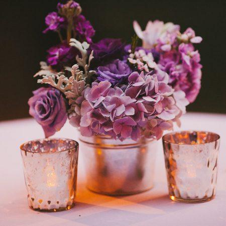 Purple flower centerpiece for a San Francisco destination wedding by Destination wedding planner Mango Muse Events