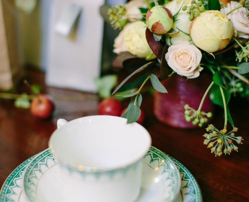 Vintage tea cups at a France Chateau wedding by Destination wedding planner Mango Muse Events