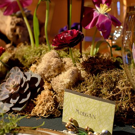 Fairytale tablescape at a woodland wedding by Destination wedding planner Mango Muse Events