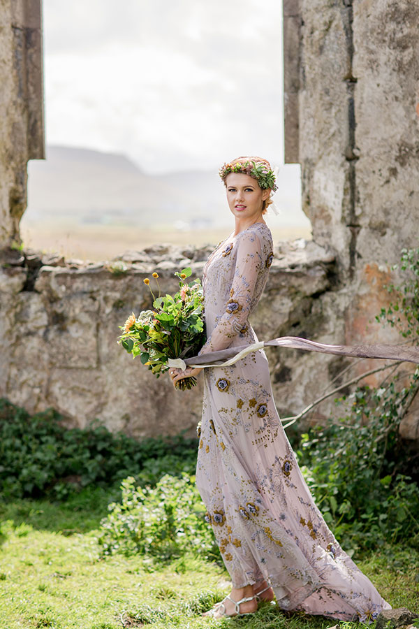 Bride in Maria Korovilas detailed lavendar wedding gown at an Isle of Skye Scotland destination wedding by destination wedding planner Mango Muse Events