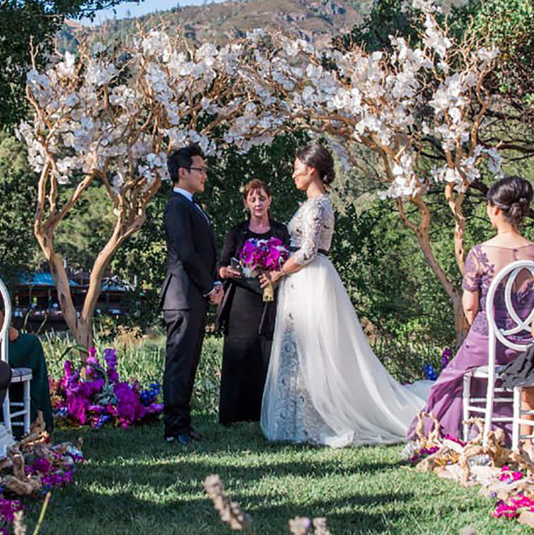 Lush wedding ceremony at Calistoga Ranch for a wine country destination wedding by Destination wedding planner Mango Muse Events